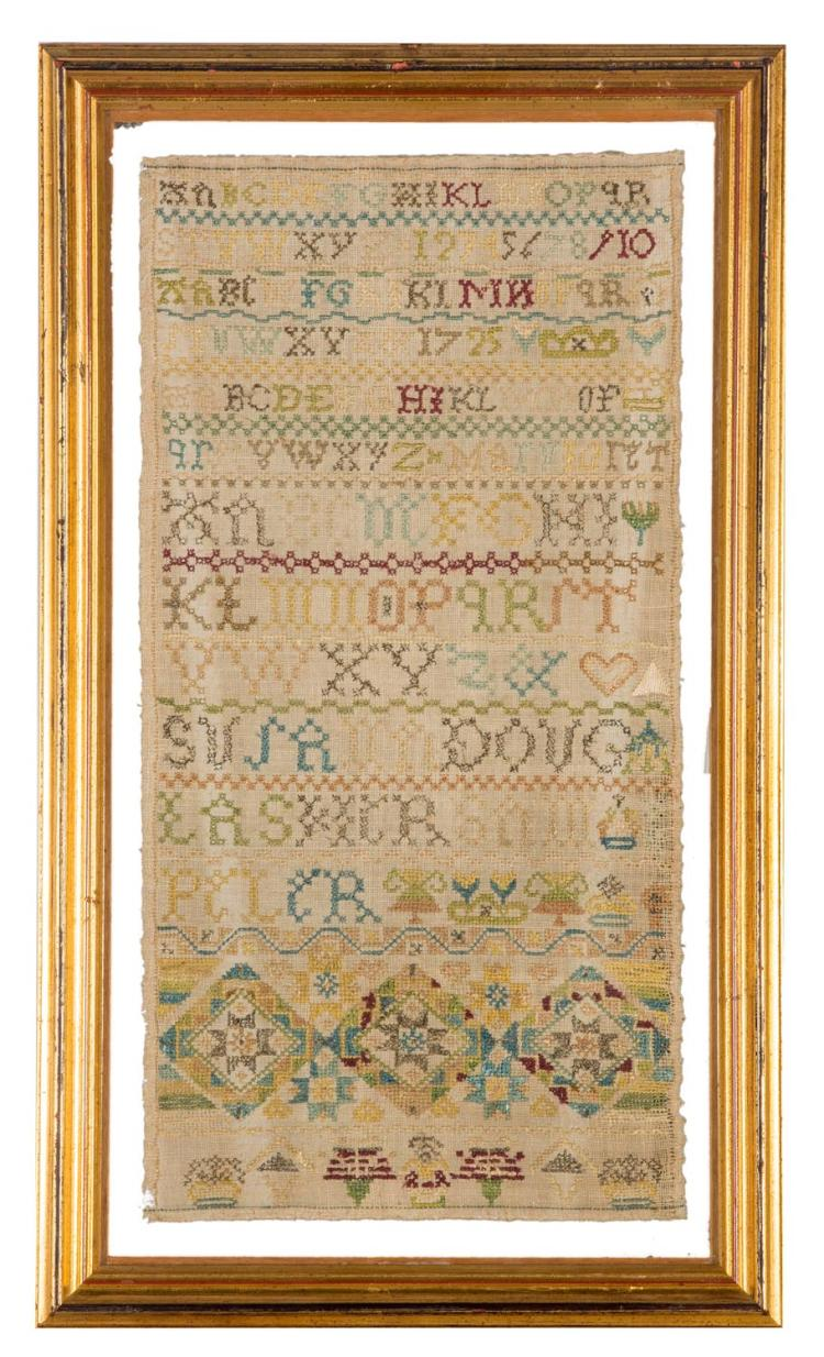 A needlework silk on linen Sampler '1725', English, 18th century