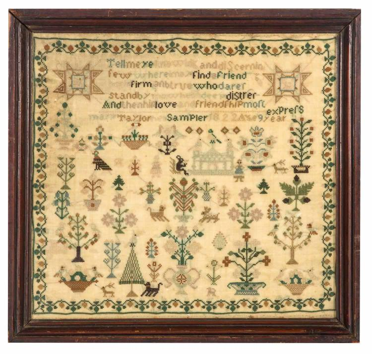 A needlework Sampler 'Mary Taylor 1822', English, 19th century