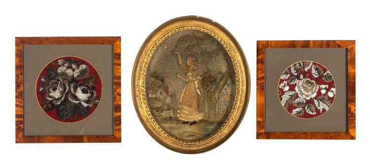Three Victorian needlework pictures, English, 19th century