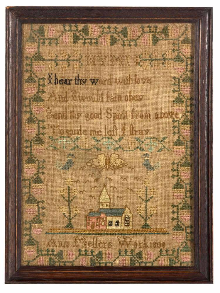 A needlework Sampler 'Ann Mellers Work 1808', English, 19th century