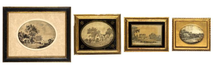 Four Victorian needlework pictures, English, 19th century