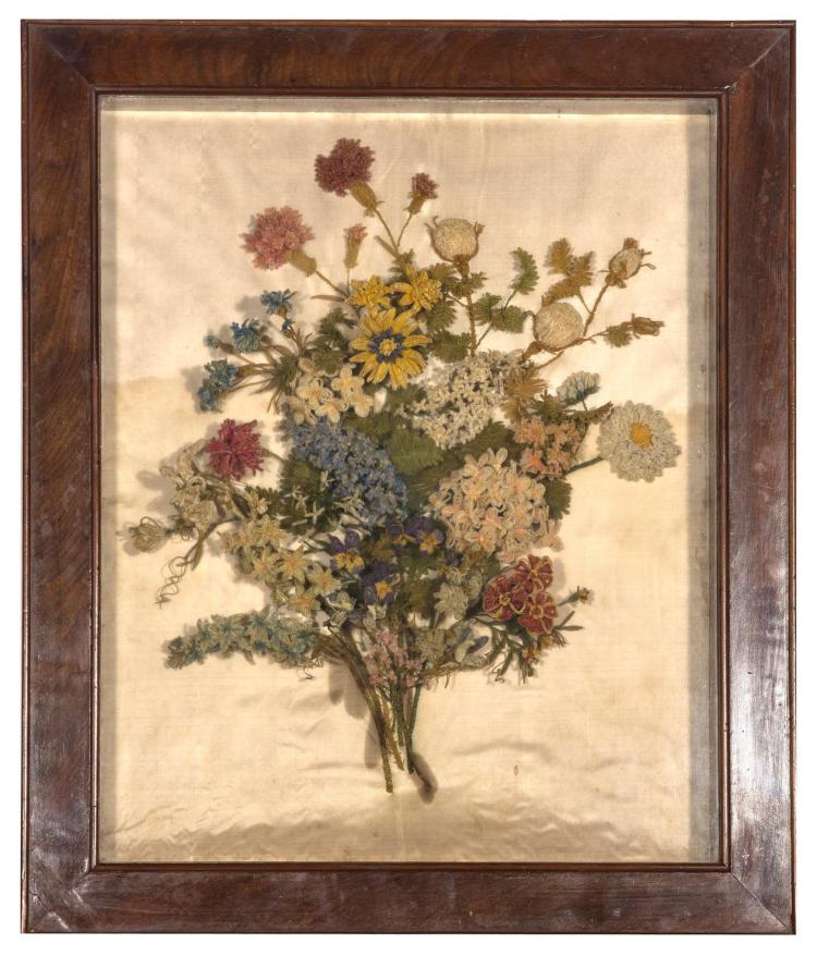 A rare silk chenille needlework picture, bouqet of flowers, English, late 17th, early 18th century