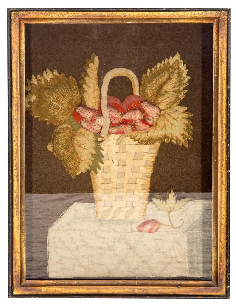 A rare felt needlework picture, strawberries in a basket, English, 18th century