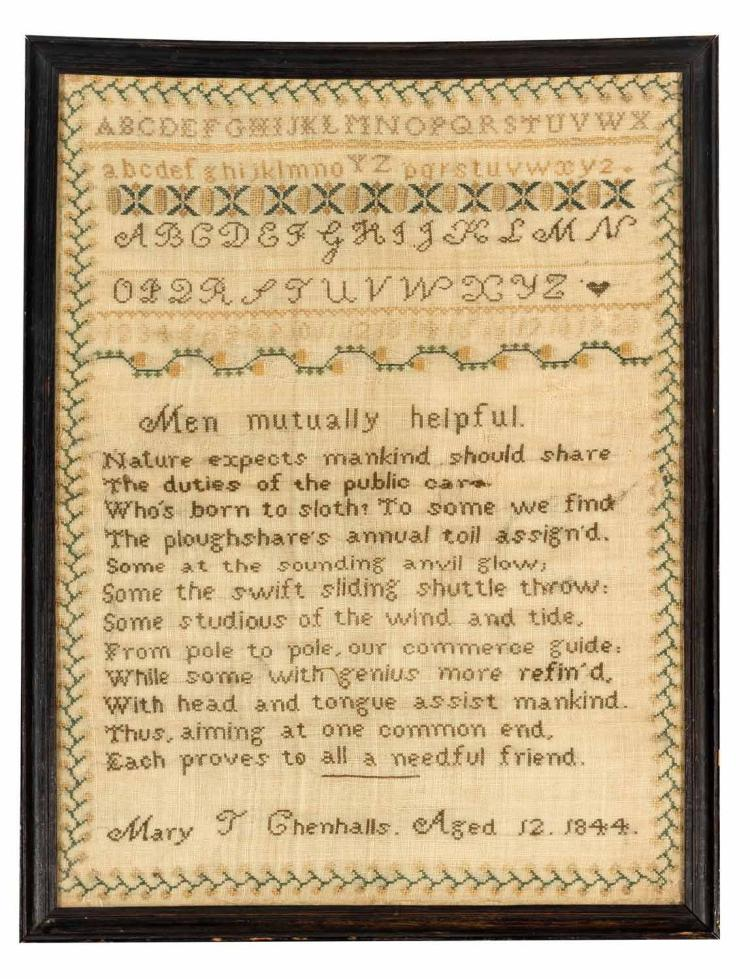 A needlework Sampler 'Mary T Chenhalls 1844', English, 19th century