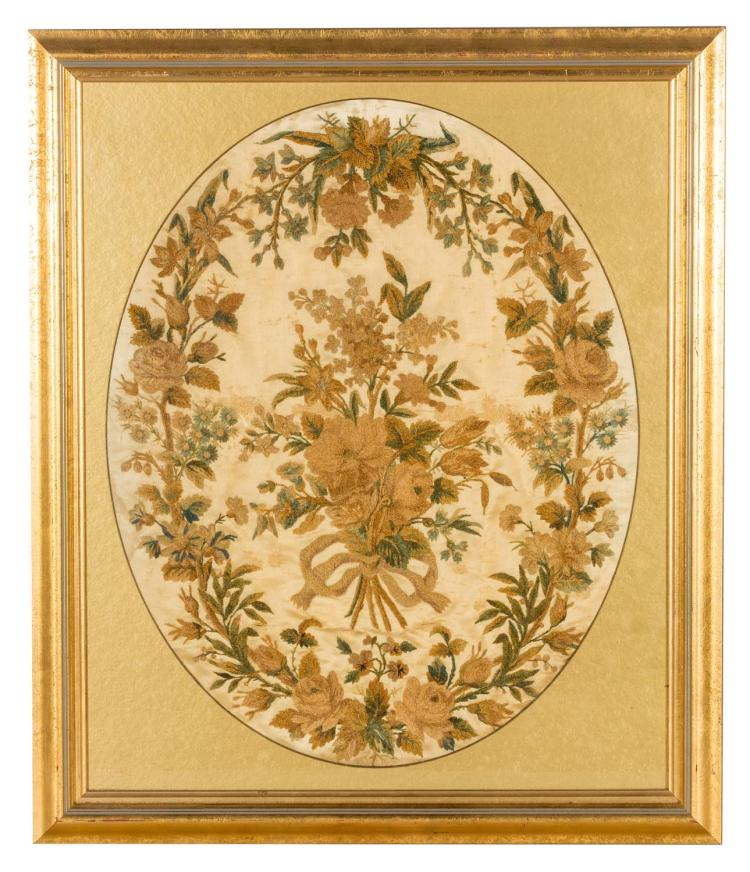 A silk and wool needlework picture, bouqet of flowers, English, 19th century