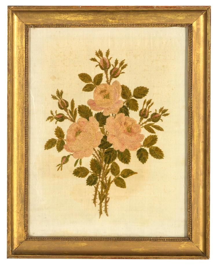 A needlework picture wool on silk, bouqet of roses, English, 19th century