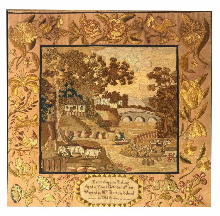 A silk and wool needlework picture, 'Emily Augusta Telling 1839', English, 19th century