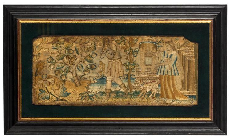 A silk needlework picture, English, 17th century  33.5 cm wide, 14 cm high