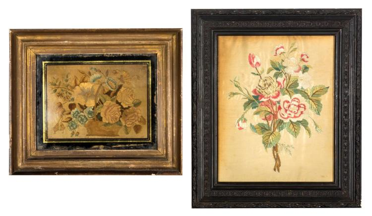 Two Victorian floral needleworks