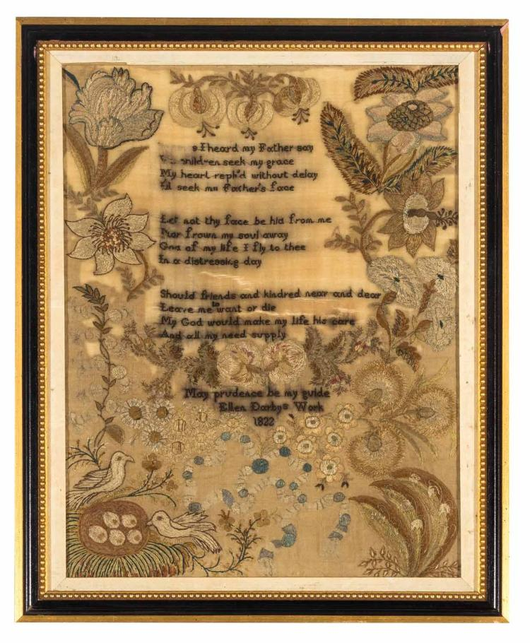 A silk needlework Sampler 'Elaine Darby's work 1822', English, 19th century