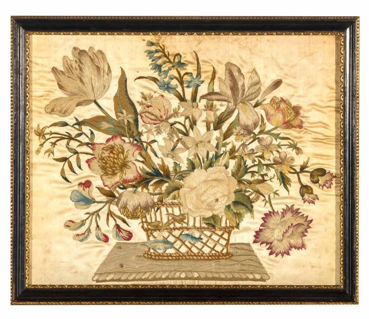 A silk needlework picture, flowers in a basket, English, 19th century