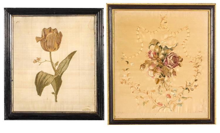 Two needlework pictures, Tulip, bouqet of flowers, English, 19th century