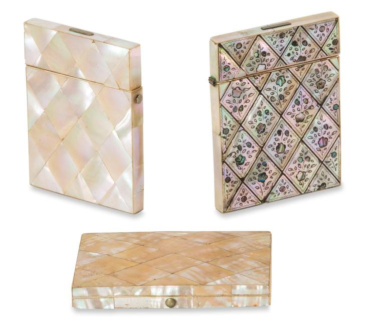A collection of three Victorian mother of pearl card cases, English, 19th century