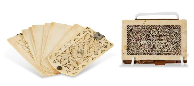 Two Victorian carved ivory card holders, early 19th century