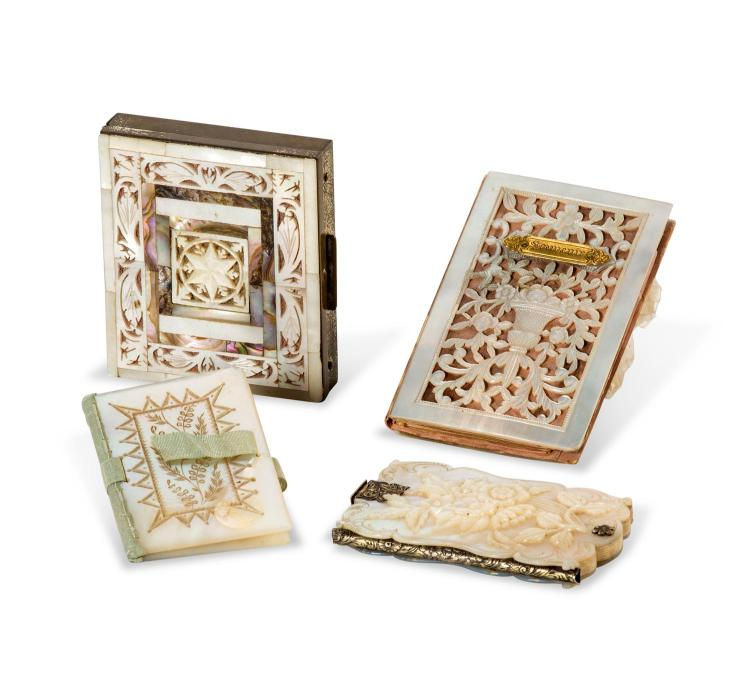 A set of three carved mother of pearl card holders and compact, 19th century
