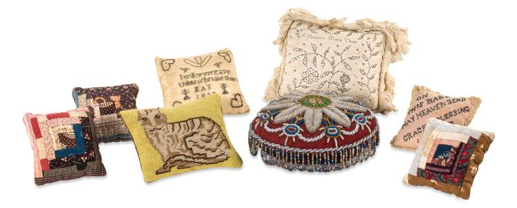 A collection of small eight bead and needlework cushions, English, 19th century