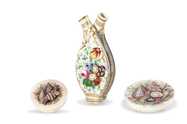 Two Victorian pot lids decorated with shells and a double scent flask, English 19th century