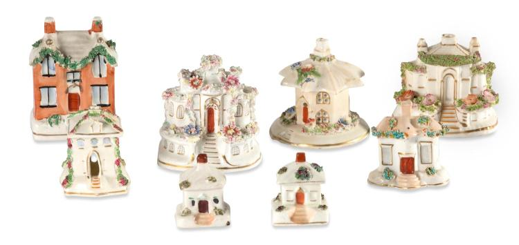 A collection of 8 Staffordshire houses, english, 19th century