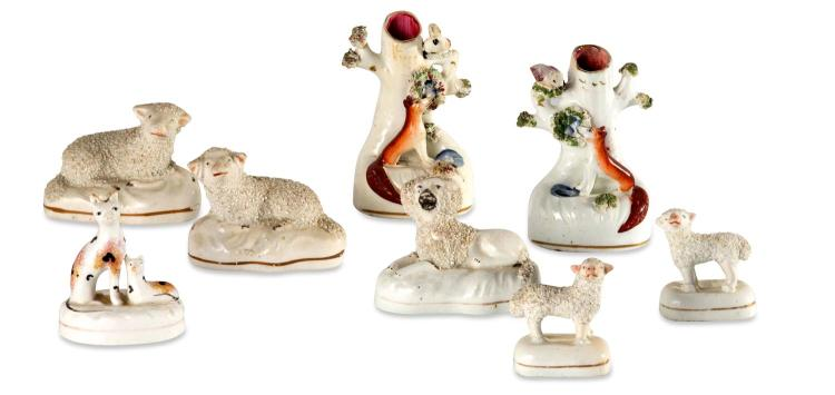 A collection of eight small Staffordshire animals, English, 19th century