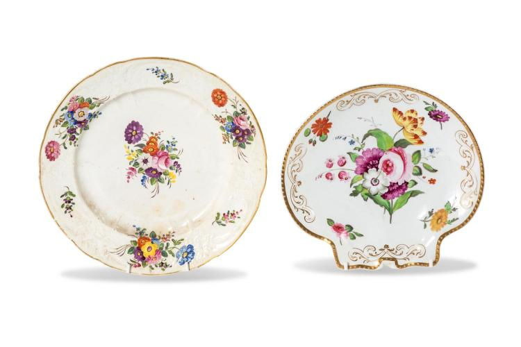 Two Staffordshire dishes decorated with flowers, English, early 19th century