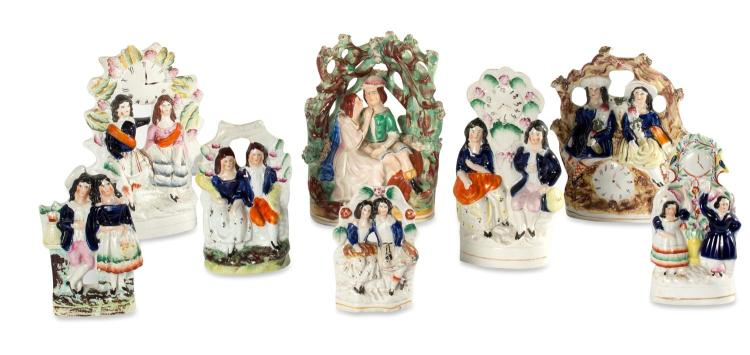 A collection of eight Staffordshire flatbacks, English, 19th century