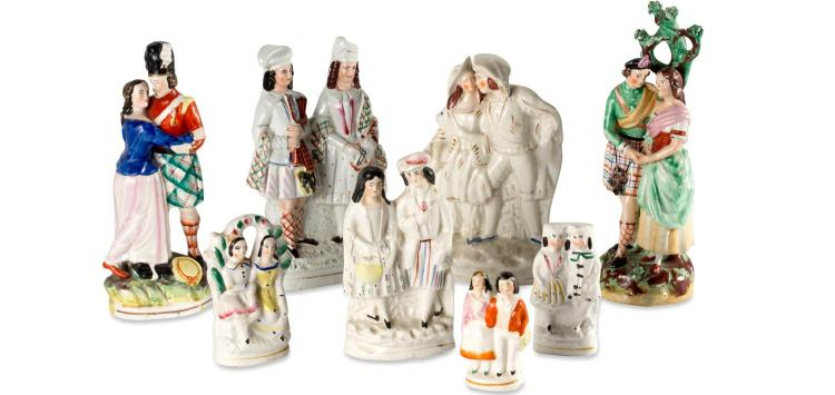 A collection of eight Staffordshire figures, English, 19th century
