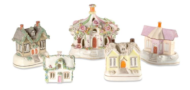 A collection of five Staffordshire houses, English, 19th century