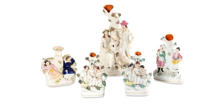 A collection of five Staffordshire flatbacks, English, 19th century