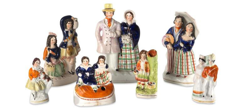 A collection of seven Staffordshire figures, English, 19th century
