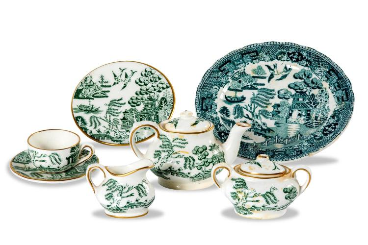 A collection of Coalport miniature teaset pieces, English, 20th century