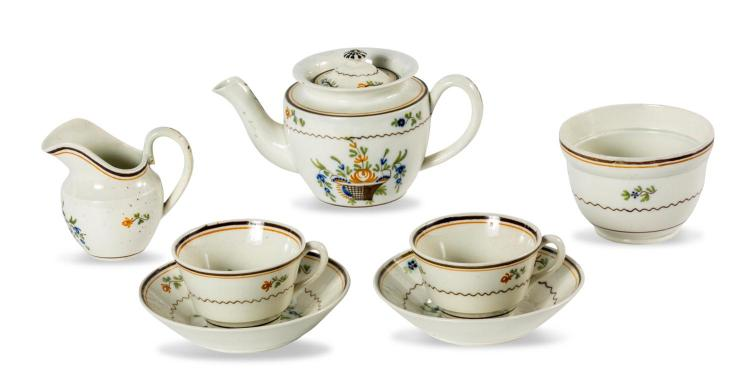 A Pratt type ware part miniature teaset, English, circa 1800