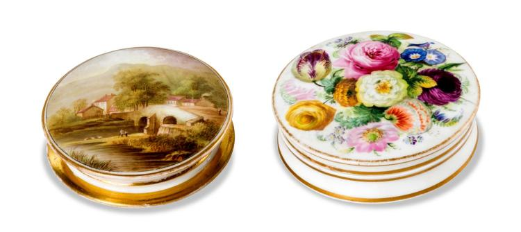 Two porcelain flat boxes, English, mid 19th century