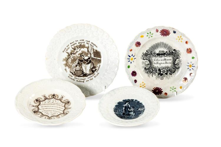 A collection of four child's plates, English, 19th century