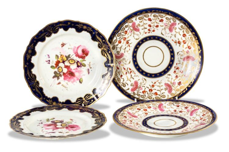 Four porcelain plates decorated with flowers, English, circa 18-25