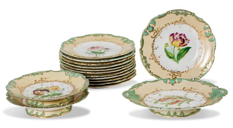A Victorian dessert set painted with flowers, circa 1850