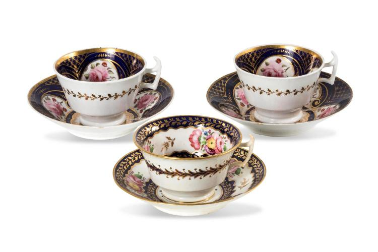 Three cups and saucers with floral decoration, English, circa 1815-20