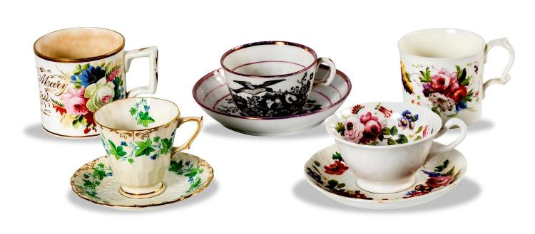 A collection of Victorian china, three cups of saucers and two mugs