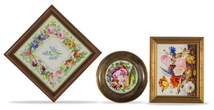 A collection of three framed porcelain tiles, English, 19th century