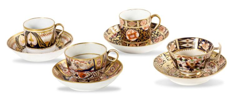 A collection of four Imari decorated cups and saucers including Chambers Worcester, Derby and Spode, English, 1810-20
