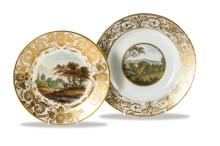 Two Derby named view plates, in Holland and view of worcester, English, early 19th century