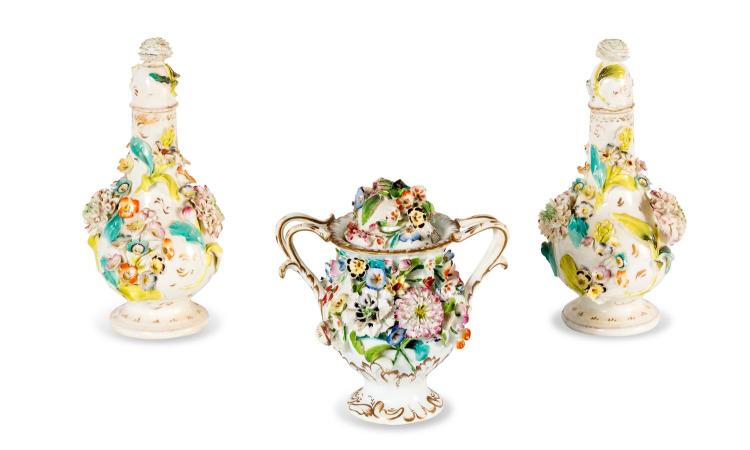 A collection of Coalbrookdale style lidded vases, English, circa 1850