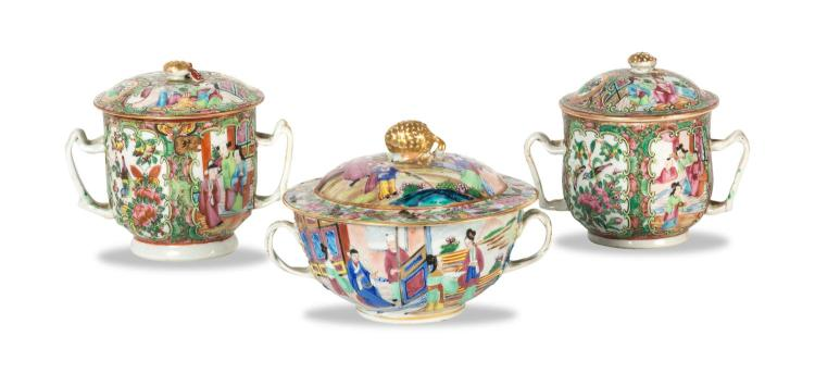 A collection of three Chinese porcelain lidded boxes