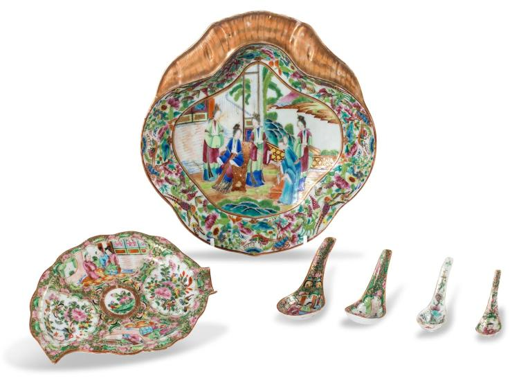 A collection of famille rose: two dishes and four spoons