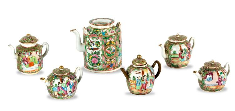 A collection of six Chinese porcelain teapots