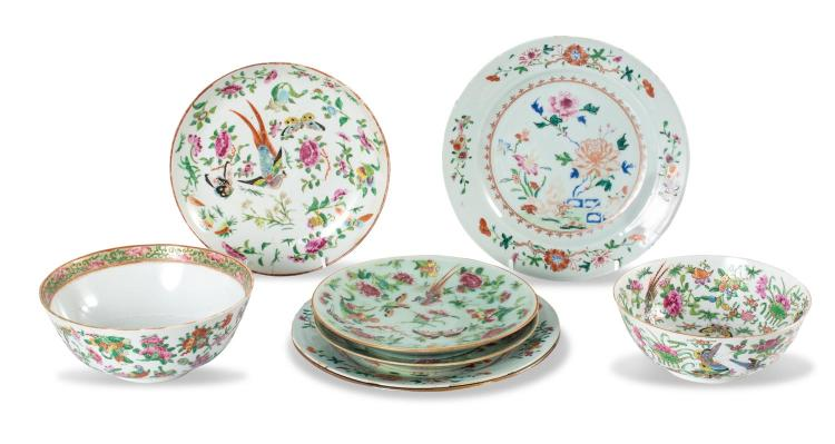 A collection of Chinese porcelain: six plates and two bowls