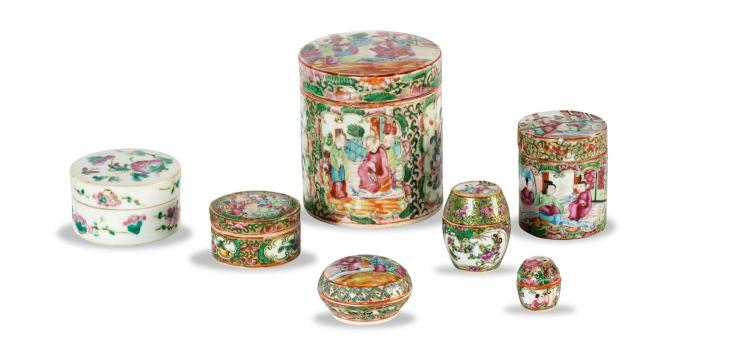 A collection of seven Chinese porcelain lidded boxes