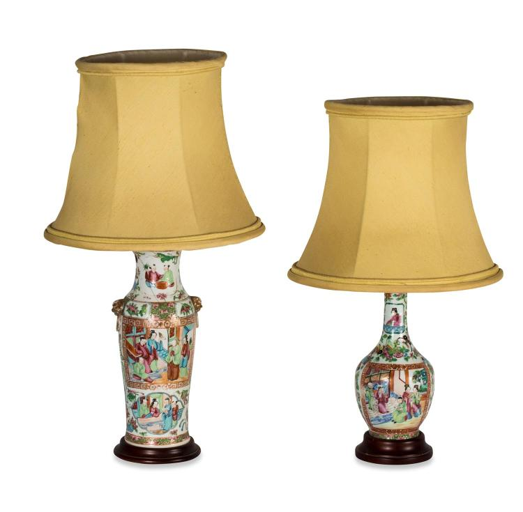 A collection of two famille rose porcelain lamps