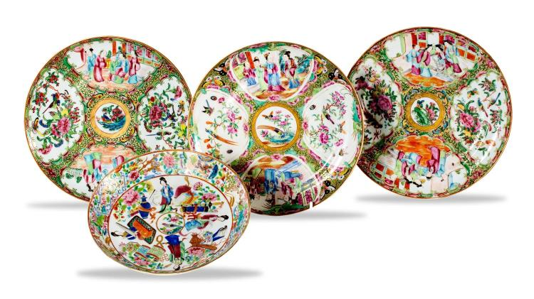 A collection of four famille rose plates
