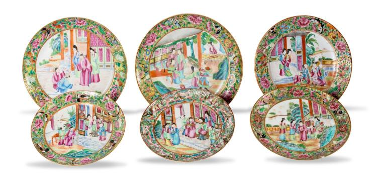 A collection of six famille rose plates
