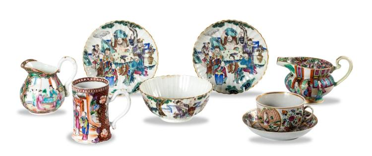A collection of Chinese porcelain: two jugs, one bowl, two dishes, one mug, one cup and saucer